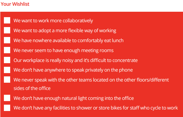 Office Refurbishment Wishlist